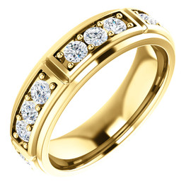 10354dg Interface, Men's 18 Stone 14k Yellow Gold, Round-Cut Diamond Band Style Eternity Station ring by GuyDesign® 10354