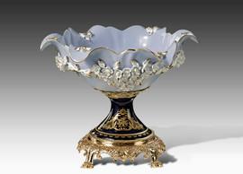 "Lyvrich | Handmade Fine Porcelain Flowers, Pedestal Basin, Centerpiece Bowl, | Porcelain with Gilded Dior Ormolu Trim, | 10.25""t X 13.50""L X 12.25""d | 6571"
