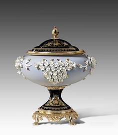 "Lyvrich | Handmade Fine Porcelain Flowers, Jar, Centerpiece Urn, | Porcelain with Gilded Dior Ormolu Trim, | 15""t X 13""w X 12.25""d | 6568"