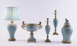 "***Lyvrich   Handmade Porcelain with Gilded Dior Ormolu Trim,   0.0""t X 0.0""L X 0.0""d   6504"