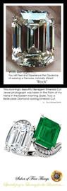 6.95 Ct. Mined Diamond Semi-Mount Two Stone GuyDesign® Jackie Kennedy Wedding Ring, Chatham Lab-Created Beryl Emerald, and Benzgem Emerald Cut G-H-I-J Color Best Fake Diamond 14 Karat White Gold 10381