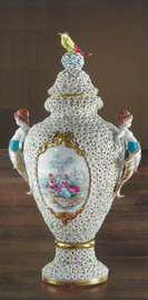 "Tiche Bisque Porcelain, Hand Painted, Petite Flowers, Trophy Cup Covered Vase - 49cm Tall x 27cm Wide, 19.29""t x 10.62""w -10382"