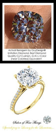 Benzgem by GuyDesign®, G-H-I-J, Color, 3.21 Carat Cushion Cut, Best Alternative Diamond with H & A Mined Diamond Semi-Mount, Louis XIV Baroque Scroll Solitaire Ring, 18 Karat Yellow Gold, 10385