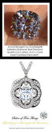 3.21 Ct. Hand Cut Antique Square Cushion Cut Benzgem: G-H-I-J Diamond Quality Color Imitation; GuyDesign® Opulent Platinum Pendant Necklace - 10386