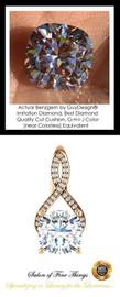 3.21 Ct. Cushion Benzgem: Best G-H-I-J Diamond Quality Imitation; GuyDesign® Breast Cancer Survivor's Pendant Necklace: Lab-Grown Pavé Diamonds Custom Gold Jewelry, 10389