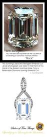 14.22 Ct. Emerald Benzgem: Best G-H-I-J Diamond Quality Imitation; GuyDesign® Breast Cancer Survivor's Pendant Necklace: Lab-Grown Pavé Diamonds Custom Platinum Jewelry, 10391