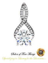 1.91 Ct. H&A Benzgem: Best G-H-I-J Diamond Quality Imitation; GuyDesign® Breast Cancer Survivor's Pendant Necklace: Lab-Grown Pavé Diamonds Custom 14k White Gold Jewelry, 10393