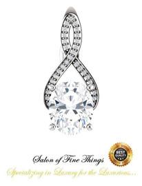2.66 Ct. Oval Benzgem: Best G-H-I-J Diamond Quality Imitation; GuyDesign® Breast Cancer Survivor's Pendant Necklace: Lab-Grown Pavé Diamonds Custom 14 Karat White Gold Jewelry, 10394