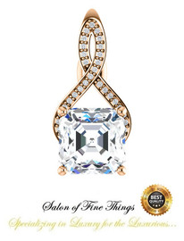 4.50 Ct. Asscher Benzgem: Best G-H-I-J Diamond Quality Imitation; GuyDesign® Breast Cancer Survivor Pendant Necklace: Lab-Grown Pavé Diamonds Custom Gold Jewelry, 10396