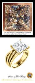 360° Video - 3.81 Ct. Princess Benzgem: Best G-H-I-J Diamond Quality Cut & Color Imitation; GuyDesign® Statement | Engagement Ring:  Custom 14 Karat Yellow Gold Jewelry, 10398