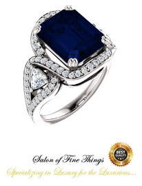 3 Stone Engagement Ring, Halo Engagement Rings, Sapphire Engagement Rings, Diamond Semi-Mount, Emerald Cut, Platinum, Natural Diamond, Wedding Sets, 10399