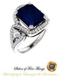 360° Video - 6.50 Ct Emerald Cut Chatham Lab-Grown Blue Sapphire: GuyDesign® Halo & Gemstone Engagement Ring: Natural Pavé Diamonds Custom Platinum Jewelry, 10399