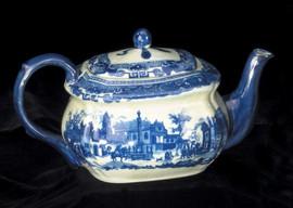 Blue and White Porcelain Transferware Decorative Teapot - 10.5L X 5.25t