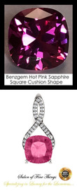4 Ct. Lab-Grown Benzgem Brand Best Pink Sapphire: GuyDesign® Breast Cancer Survivors Pendant Necklace: Lab-Grown Pavé Diamonds Custom 14 Karat White Gold Jewelry, 10400