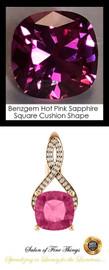 4 Ct. Lab-Grown Benzgem Brand Best Pink Sapphire: GuyDesign® Breast Cancer Survivors Pendant Necklace: Lab-Grown Pavé Diamonds Custom Gold Jewelry, 10401