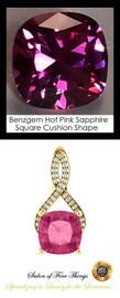 4 Ct. Lab-Grown Benzgem Brand Best Pink Sapphire: GuyDesign® Breast Cancer Survivors Pendant Necklace: Lab-Grown Pavé Diamonds Custom 14 Karat Yellow Gold Jewelry, 10402