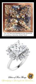 3.81 Ct. Brilliant Princess Cut Benzgem: Best G-H-I-J Diamond Quality Cut & Color Imitation: GuyDesign® Fancy Round and Marquise Diamond Halo Engagement or Cocktail Ring: Natural Pavé Diamonds Bespoke Platinum Jewelry, 10412