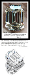 360° Video - 14.22 Carat Believable and Realistic Simulated Diamond Emerald Cut Benzgem matches Convincingly the 94 Natural Diamond Semi-Mount; GuyDesign Halo Engagement or Right-Hand Ring - Platinum, 10424,