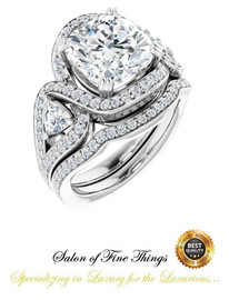 3.21 Carat Believable and Realistic Simulated Diamond Cushion Cut Benzgem matches Convincingly the 82 Natural Diamond Semi-Mount; GuyDesign® Halo Engagement or Right-Hand Ring - Platinum, 10427, - 360° Video