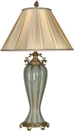 Porcelain Lamp with Shantung Silk Shade - Celadon Crackle Finish - 30t