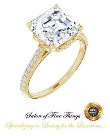4.50 Ct. Asscher Cut Benzgem: Best G-H-I-J Diamond Quality Imitation: GuyDesign® Louis XIV Baroque Scroll Engagement Ring: Lab-Grown Pavé Diamonds Custom 18 Karat Yellow Gold Jewelry, 10430