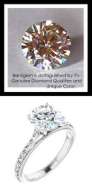 Benzgem by GuyDesign®, 1.81 Carat Hearts & Arrows Round Shape Jewelry Sample, Size 7, Tarnish Resistant Silver 6705