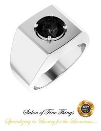 #2 Carat Round-Cut Brilliant Black Diamond - Middle Finger Ring - Designed by GuyDesign®- Men's Custom Silver Ring-10448