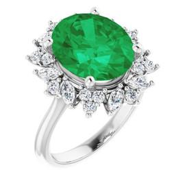 00002-C Platinum Diamond Emerald Cocktail Ring