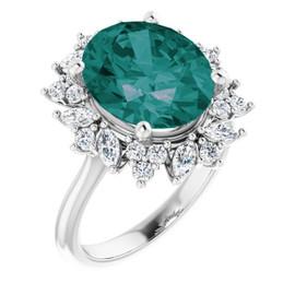 3-C Platinum Diamond Alexandrite Cocktail Ring
