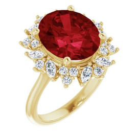 00004-A 18K Yellow Gold Diamond Ruby Engagement Ring