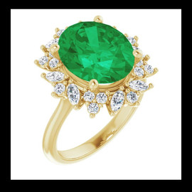 00405 18k Gold Diamond Halo #12 Emerald Cocktail Ring 10497
