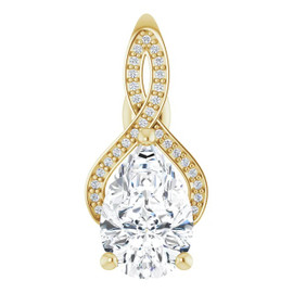00676, 18k Yellow Gold 29 Diamond 2.8 carat Pear-Cut Benzgem Pendant