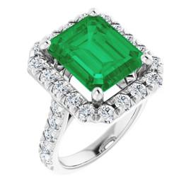 #356, Platinum Natural Hearts & Arrows 28 Super Ideal Cut Diamonds Emerald Bespoke Ring