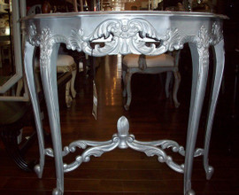 A Custom Decorator - French Louis XV 39 Inch Console Entry Table - Silver Metallic Finish