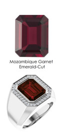 0000810 Platinum Hearts & Arrows 34 Diamond Garnet Mens Custom Ring