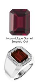 810 Platinum 34 CanadaMark Conflict Free Diamond Emerald-Cut Garnet Mens Custom Ring