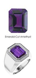 814 Platinum 34 CanadaMark Conflict Free Diamond Emerald-Cut Amethyst Mens Custom Ring