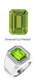 0000817 Platinum Hearts & Arrows Diamonds 6.2 ct. Peridot Mens Ring