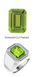 817 Platinum CanadaMark Conflict Free Diamonds 6.2 ct. Emerald-Cut Peridot Mens Ring