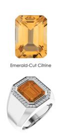 823 Platinum 34 CanadaMark Conflict Free Diamond Emerald-Cut Citrine Mens Custom Ring