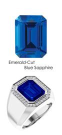 829 Platinum CanadaMark Conflict Free Diamond 8.3 ct. Emerald-Cut Sapphire Mens Custom Ring