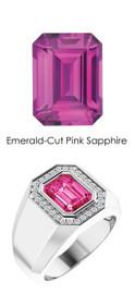 832 Platinum 34 CanadaMark Conflict Free Diamond Emerald-Cut Sapphire Mens Custom Ring
