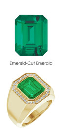 0000826 18K Yellow Gold Hearts & Arrows Diamonds 5.6 ct. Emerald Mens Ring