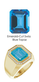 838 18K Gold CanadaMark Conflict Free Diamonds 7.8 ct. Emerald-Cut Topaz Men's Ring