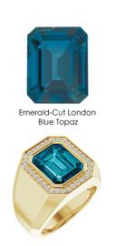 841 18K Gold CanadaMark Conflict Free Diamonds 7.8 ct. Emerald-Cut Topaz Men's Custom Ring