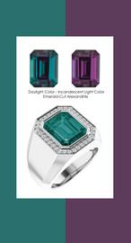 844 Platinum CanadaMark Conflict Free Diamonds 7.3 ct. Emerald-Cut Alexandrite Mens Ring
