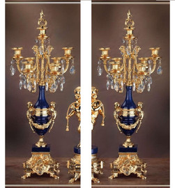 "0000201 26.3"" Lapis Lazuli Candelabra Set of 2 - Bespoke"
