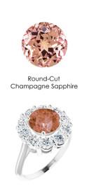 #36803 Platinum Max Sparkle Natural H & A Super Ideal Cut Diamonds 2.7ct Sapp. Diana Ring