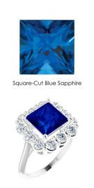#36510 Platinum Max Sparkle Natural H & A Super Ideal Cut Diamonds 3.4ct Sapp. Diana Ring