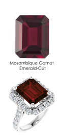 0000351 Platinum Hearts & Arrows 28 Diamonds 7 ct. Garnet Bespoke Ring